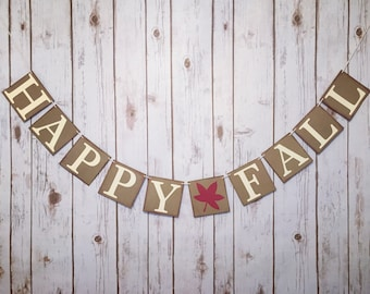 HAPPY FALL BANNER, happy fall sign, thanksgiving decorations, thanksgiving banner, fall decorations, fall banner, thanksgiving mantle