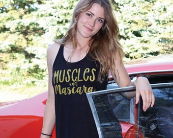 Muscles and Mascara, Flowy Tank, Work Out, Fit Mom, Fitmom, Heathly, Makeup, Mascara, Momlife, Mom Life, Gold, Glitter