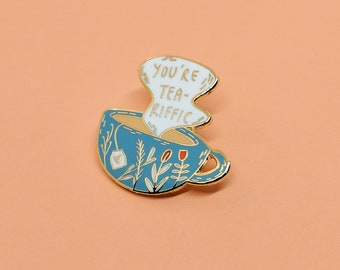 Teariffic Enamel Pin | Hard Enamel, Enamel Pin, Lapel Pin, Flair, Tea Gifts, Gifts for tea lover