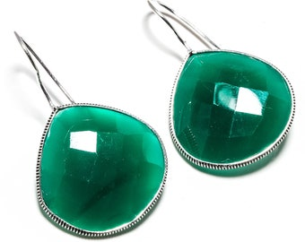 Faceted Green Chalcedony Gemstone Handmade Jewelry Earrings 1.68""