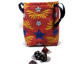 Wonder Woman Dice Bag, Drawstring Pouch, Drawstring Bag, Drawstring Dice Bag, Wonder Woman Dice Bag, Dice Pouch, Wonder Woman Drawstring Bag