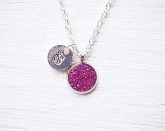 Small Fuchsia Resin Initial Necklace