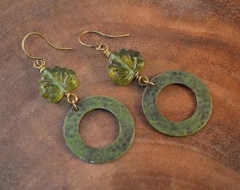 Patina Earrings, Bohemian Earrings, Czech Pressed Glass, Verdigris Brass, Bohemian Jewelry, Glass Earrings, Green Earrings, Leaf Earrings