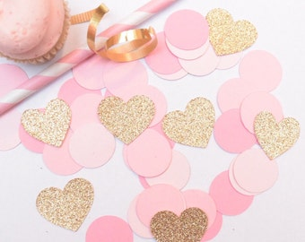 Pink and Gold Wedding Decoration, Pink and Gold Bridal Shower decoration, Confetti