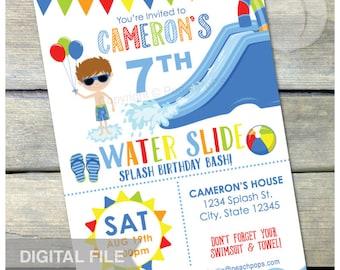 Splash Waterslide Birthday Invitation Party Water Slide Bash Boy Blue