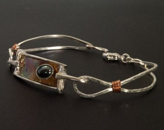 Delicate Sterling Silver and Copper Bracelet bezel set Hematite