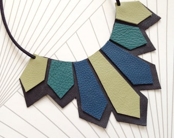 Hand Cut geometric contemporary modern leather jewellery necklace
