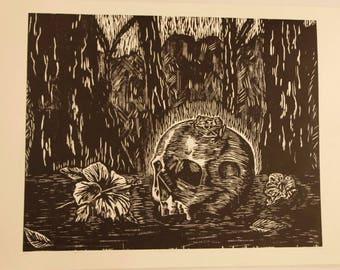 Skull and Coqui frog on a landscape woodcut prints grabado printmaking Screenprint black and white Halloween