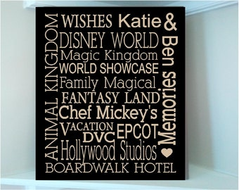Beautiful 10X12 wooden board sign with Subway art Disney world attractions words...vinyl