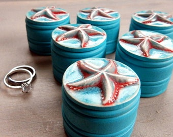 Handmade Starfish Ring Box Mermaid Girl Treasure Holder Lidded Jewelry Pill Box Small Keepsake Pottery Ring Bearer Beach Wedding Engagement