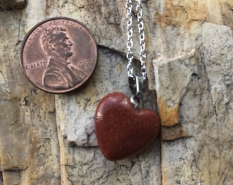 Goldstone Heart Pendant Charged with Reiki