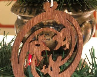 12 Days of Christmas Three French Hens Wooden Ornament