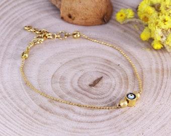 Gold Plated Evil Eye Bracelet, Minimal Bracelet, Tiny Bracelet, Wholesale Bracelet, Women Bracelet, Luck Bracelet, Charm Bracelet, Gift