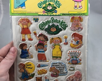 Vintage 1980s Cabbage Patch Puffy Stick On Stickers Style 5 Cabbage Patch Kids Clubhouse and Slumber Party
