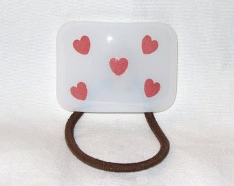 Glass Ponytail Holder, White Fused Glass with Pink Paper Heart Cutouts,  Hair Accessories, Curved Glass Hair Tie, Valentine's Day