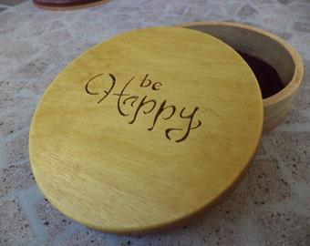 "Inspirational words jewelry box ""Be happy"""