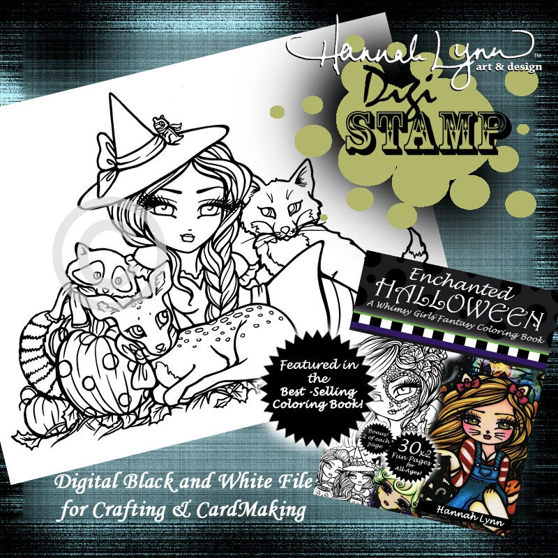 PRINTABLE Digi Stamp Woodland Witch Enchanted Halloween