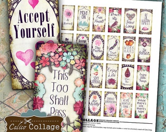 Inspired Quotes, Digital Collage, Collage Sheet, 1x2 Domino Images, for Jewelry, Decoupage, Bezel Settings, Magnets, Digital Download