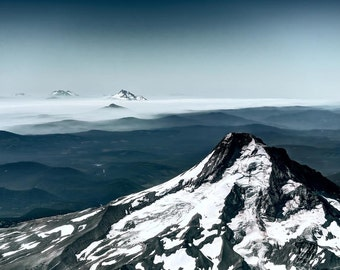 Aerial mountain photo, HDR photograph, Blue, white, and tan, fine photography prints, Mountain's Majesty