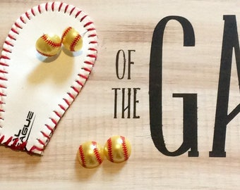 Softball Earrings/Softball Pearl Earrings/Softball mom/Fastpitch/Mom Birthday/Mothers Day/Softball Birthday