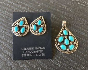 Vintage Turquoise Pendant & Earrings in Sterling Silver