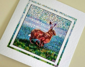 Blank card Golden Hare from original painting by Bee Skelton for any occasion birthday gift anniversary thank you