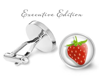 Strawberry Cufflinks - Strawberries Cufflinks - Fruit Cufflinks - Berry Cuff Link (Pair) Lifetime Guarantee (S0349)