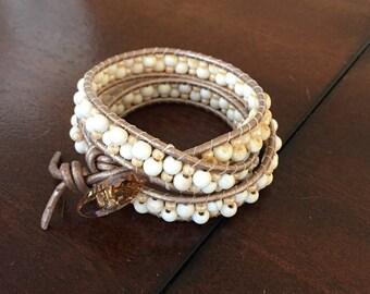 Triple Wrap Bracelet Swarovski Bead