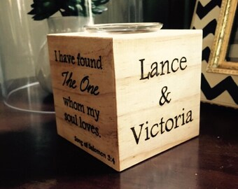 Personalized Wooden Candle Holder