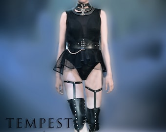 Leather Garter Belts with Knee Pads, BDSM inspired, Fetish, punk, Leather Knee Pads, Leg leather harness