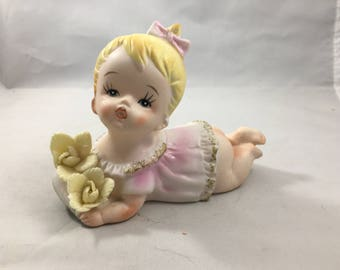 Vintage Midcentury March Baby Figurine with Flowers