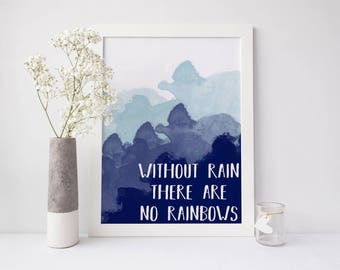 Rainbow Print, blue watercolor print, rain print, rain quote, rainbow quote, teal print, blue print, inspirational quote, happy print