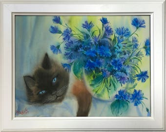 Still life with cat and cornflowers. Day dream — original one of a kind watercolour painting by Irina Redine