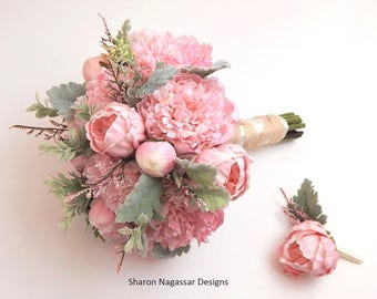 Pink/blush, grey/green, silk, dusty miller, peony/peonies, wedding, bouquet, boutonniere, Real Touch flowers, set, package