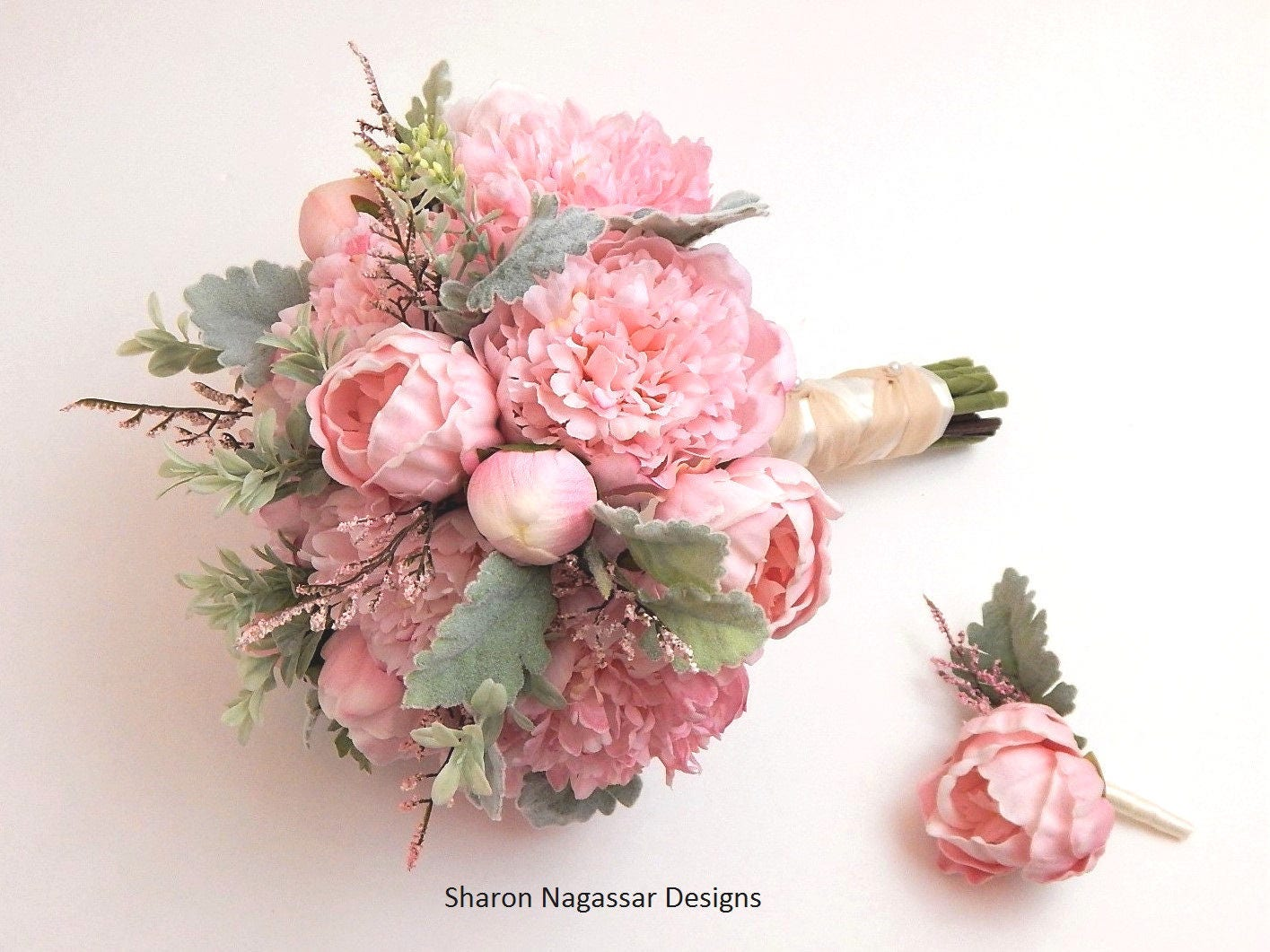 Peony wedding bouquet peony wedding flowers elegant what flowers pinkblush greygreen silk dusty miller wedding bouquet boutonniere real touch flowers set package izmirmasajfo