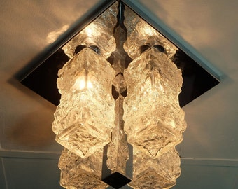 outstanding mid century FLUSH MOUNT ceiling fixture with 4 ice glass cuboids