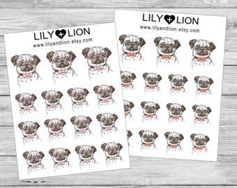Pug Planner Stickers - Diary - Erin Condren - Plum Paper - Happy Planner - TN - animal - pets - dogs