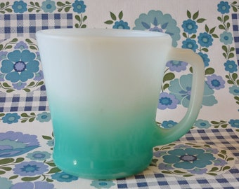 Fire King Anchor Hocking Glass Mug Faded White To Turquoise