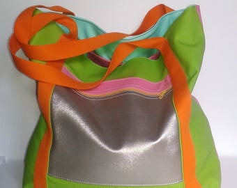 faux leather and cotton tote for a beach bag summer colors