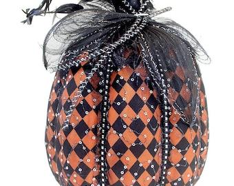 Tall Halloween fabric pumpkin, orange and black pumpkins, Fabric pumpkins, party decoration, halloween pumpkin, pumpkin decoration
