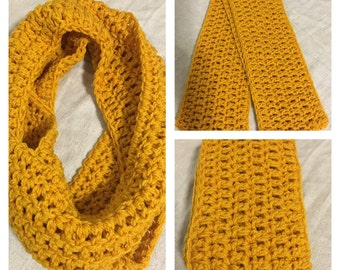 Chunky crochet infinity scarf, mustard, fall and winter accessories