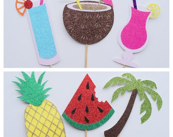 Tropical Photo Booth Props ; Tropical Bachelorette Party ; Pineapple Decor ; Summer Bachelorette Party ; Summer Decor ; Luau Decoration