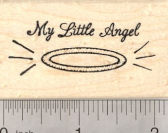 My Little Angel Halo Rubber Stamp G3004 Wood Mounted