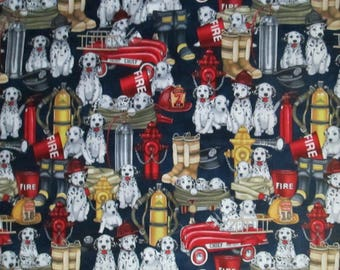Retro Firemen Dogs Helmets Boots Tanks More Blue Cotton Fabric Fat Quarter or Custom Listing