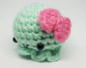 Crochet Cute Baby Squiddy with Bow Keychain
