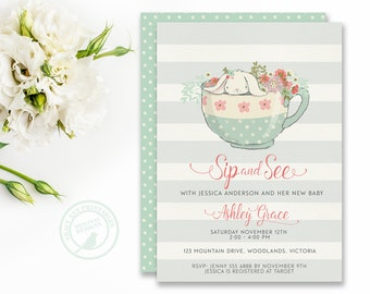 Sip and See Baby Shower Invitation,  Bunny Baby Shower, Meet and Greet,  Rabbit, Printable Invitation,  Digital, Tea Party,  0527