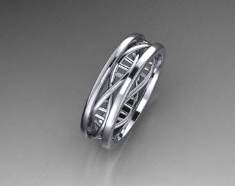 DNA Ring in Sterling Silver 6mm