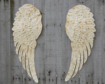 Angel Wings, Wall Decor, Shabby Chic, Ivory, Cream, Gold, Large, Metal, Upcycled, Hand Painted, Shabby Chic Decor, Boho Chic, Nursery Decor