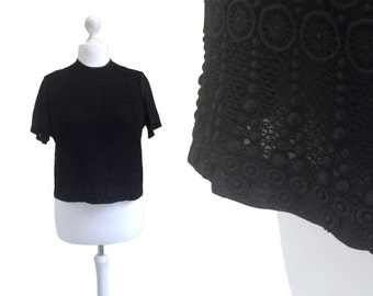 Black Lace Blouse | 1960's Vintage Blouse | 60's Blouse | Black Top | Courtaulds Tricel Top