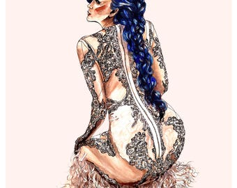 Givenchy Couture Fashion Illustration Wall Art Print Reine De Rien